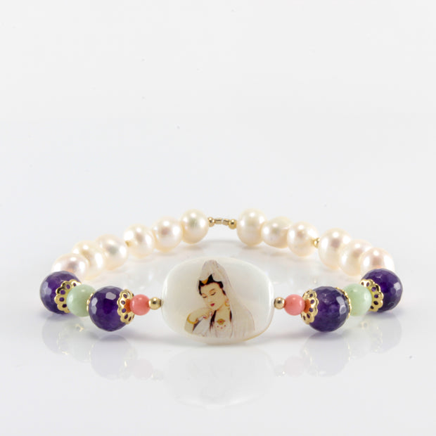 Kuan Yin Pure Water Bracelet with Amethyst, Pearl, Jade, Coral