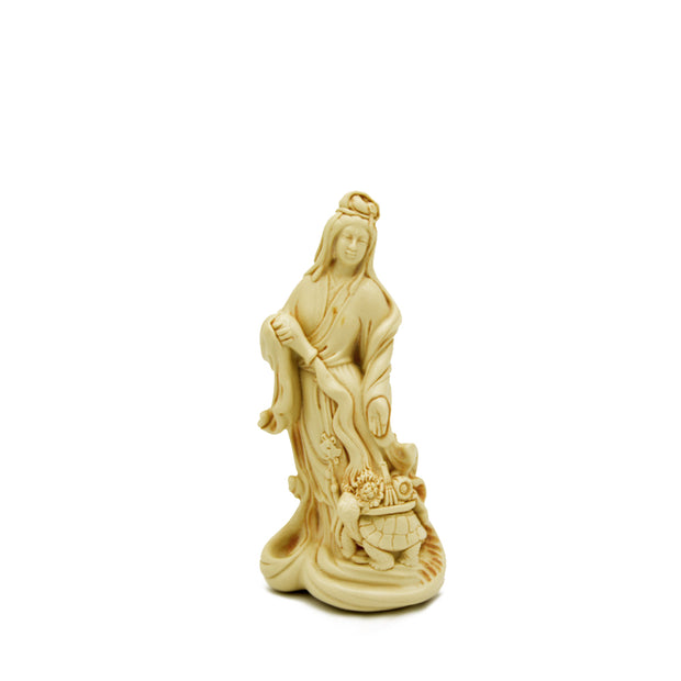 Kuan Yin Standing on Turtle, Antique White, 2 sizes