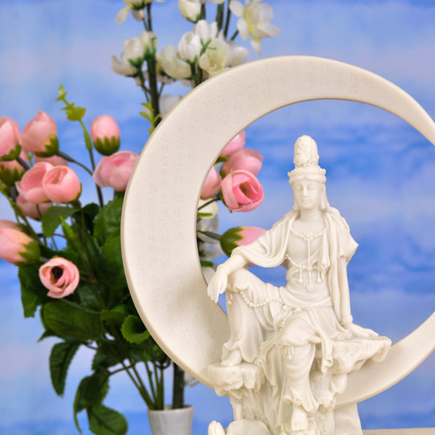 Water & Moon Quan Yin on Crescent Moon (Marble Finish)