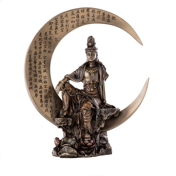 Kuan Yin Water and Moon on Crescent Moon Bronze