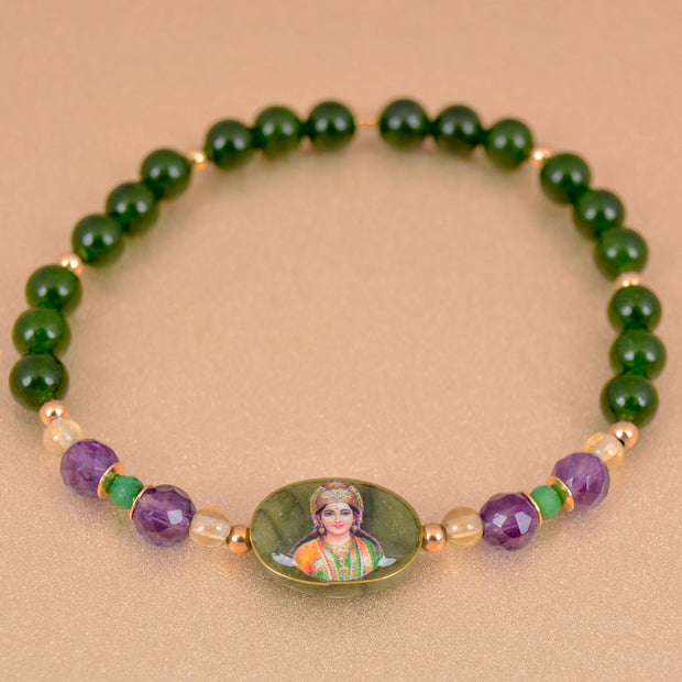 Lakshmi Bracelet w/ jade and emerald