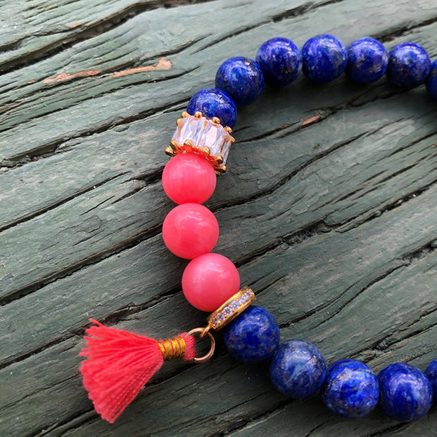 Lapis and Coral Bracelet with Coral Tassel