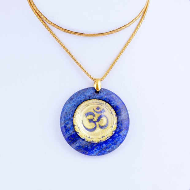 Lapis Lazuli Dome Stone Pendant with Gold Plated Om
