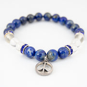 Lapis and Clear Quartz Charm Bracelet with Peace Symbol