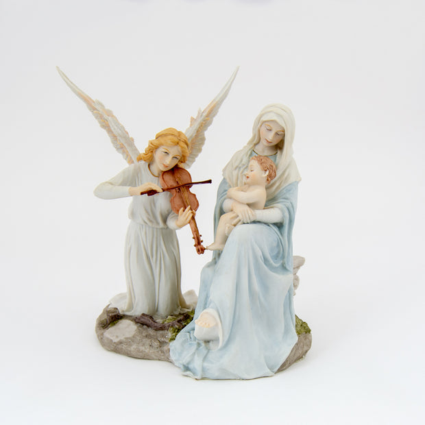 Angel's Song: Mary, Baby Jesus and Angel Playing Violin