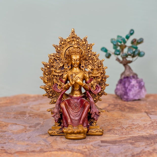 Maitreya Red/Gold Small Statue