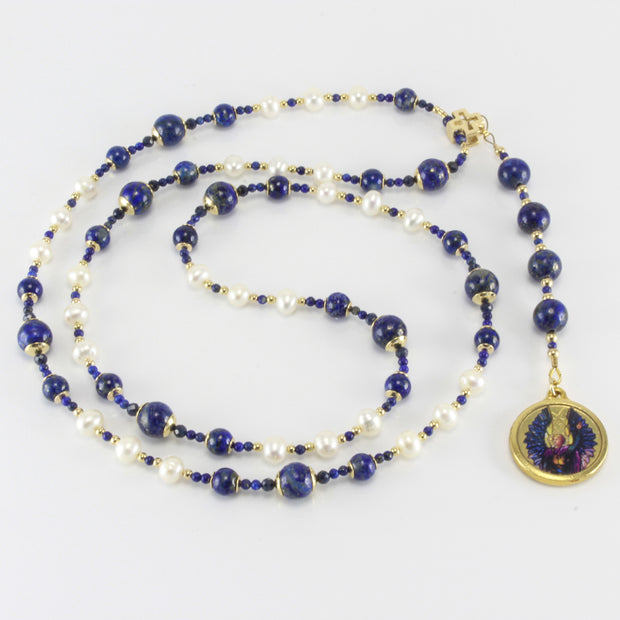 Archangel Michael Rosary with Lapis Lazuli, Sapphire, & Pearl