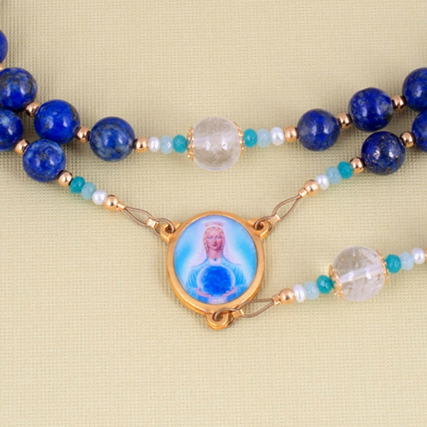 Mother Mary Rosary with Lapis Lazuli, Aquamarine, Quartz & Gold Plated 18K