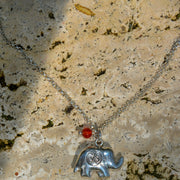 Elephant Charm Necklace w/Om, Sterling Silver