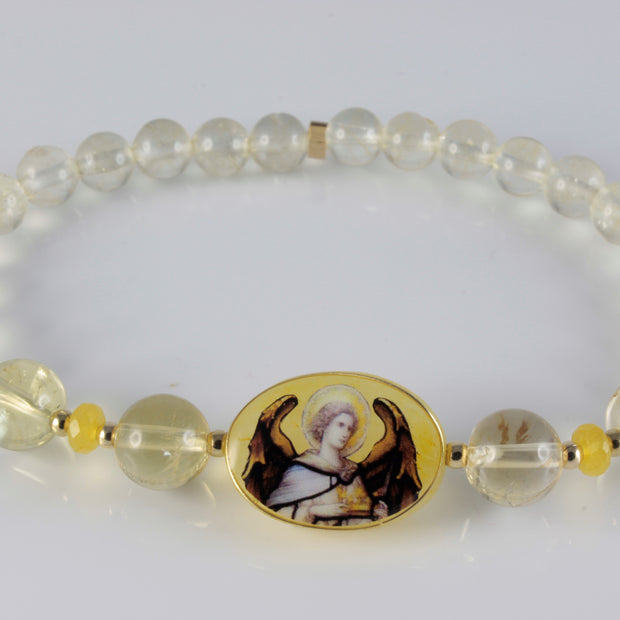 Build a Divine Connection with Archangel Jophiel Bracelet Citrine Yellow Jade