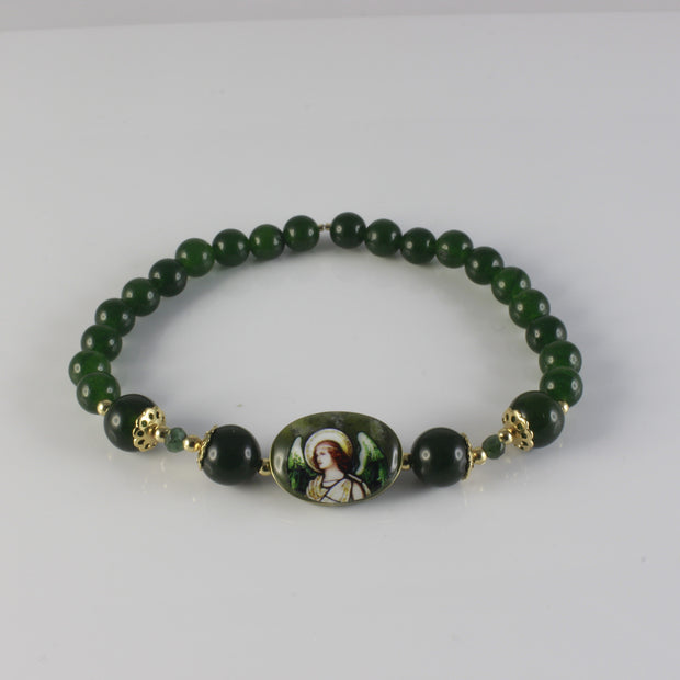 Build a Divine Connection with this Handmade Archangel Raphael Jade Emerald Bracelet