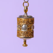 Prayer Wheel Pendant 1 1/2 Inch Silver and Copper
