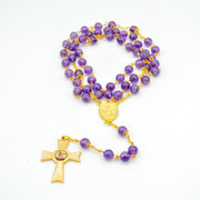 Mother Mary Amethyst Rosary - Hand Made