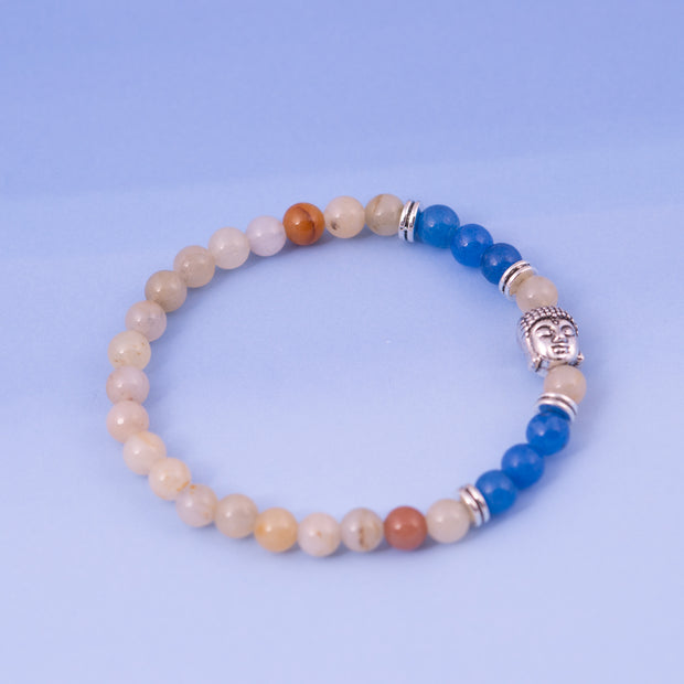Blue & Light Beads with Buddha Bracelet