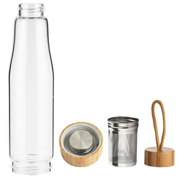 Tea Infuser Glass Bottle with Bamboo Ends
