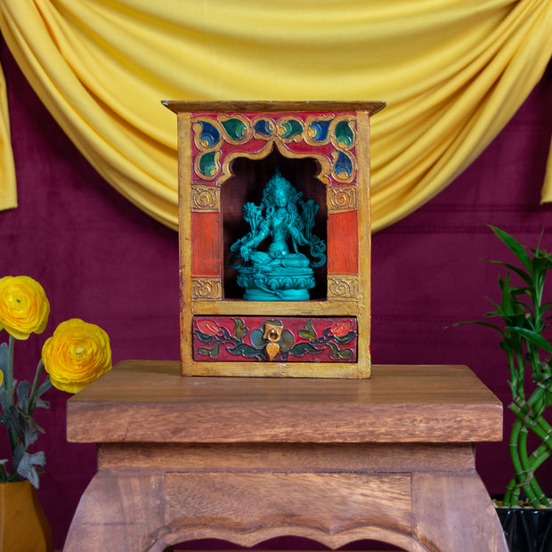 Tibetan Altar: Wood, Hand Painted 8.5 x 7 inches