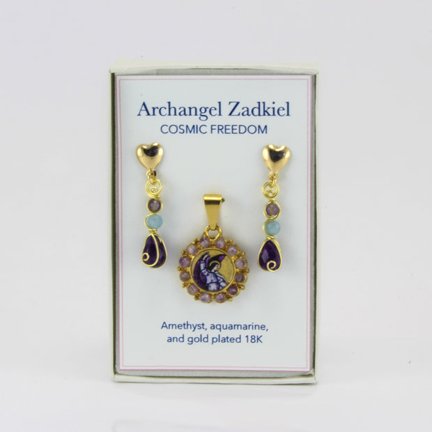 Archangel Zadkiel Pendant and Earring Set