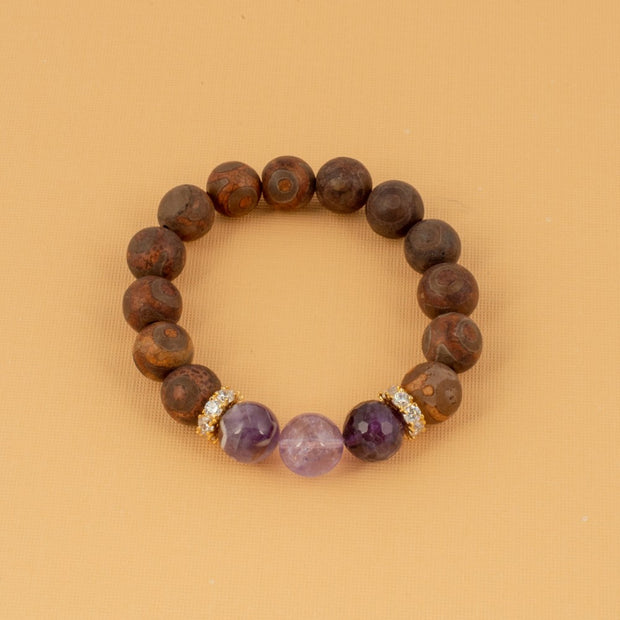 Agate and Amethyst Bracelet