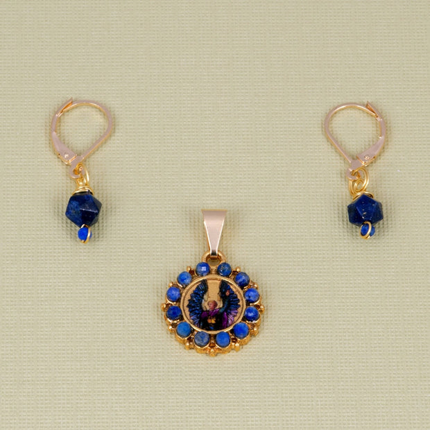 Archangel Michael Earrings and Pendant Set with Lapis Lazuli - Gold Plated 18K