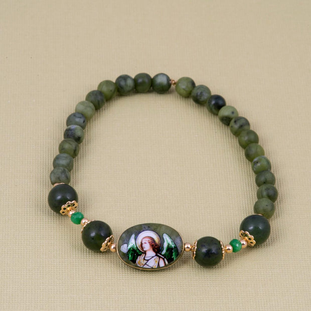 Archangel Raphael Bracelet with Jade Emerald - Gold Plated 18K