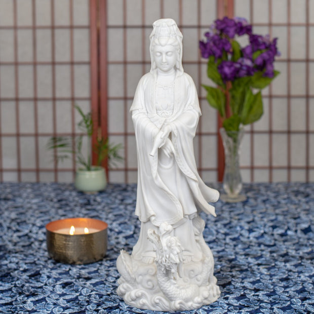 Kuan Yin Marble Standing on Dragon