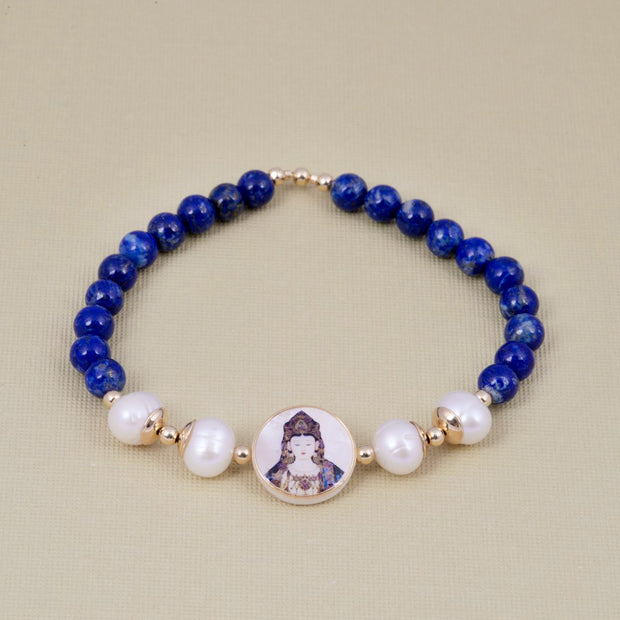 Kuan Yin Vaidurya Lapis Lazuli Bracelet with Pearl and Nacre - Gold Plated 18K