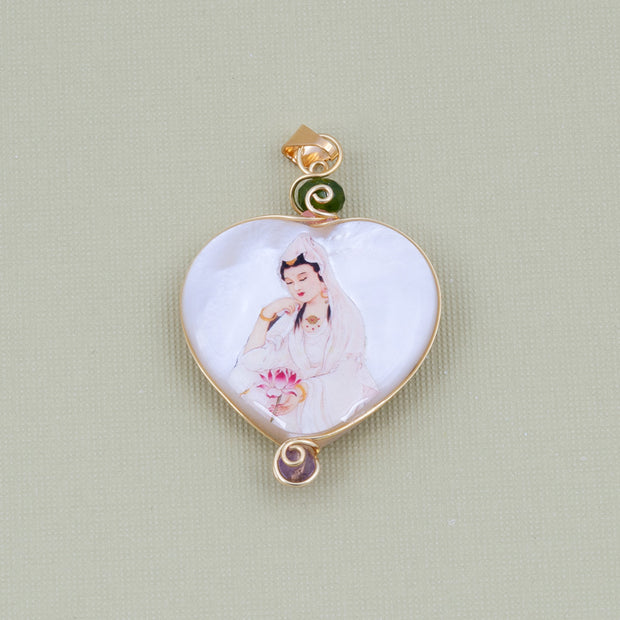 Merciful Heart Kuan Yin Pendant with Mother of Pearl, Jade, Coral and Amethyst - Gold Plated 18K