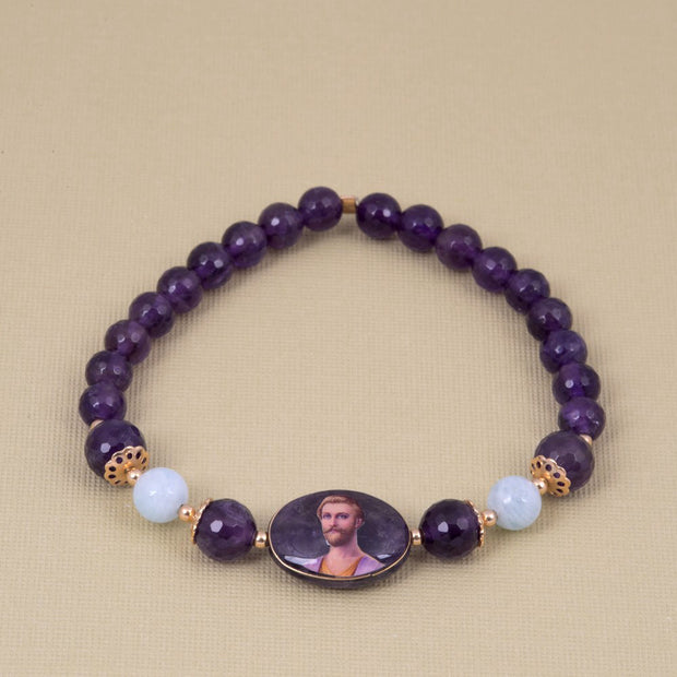 Saint Germain Bracelet with Amethyst and Aqua Marine - Gold Plated 18K