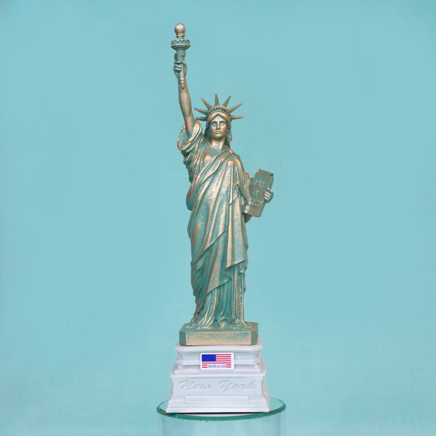 Statue of Liberty Realistic Gold Accents on White Base with American Flag