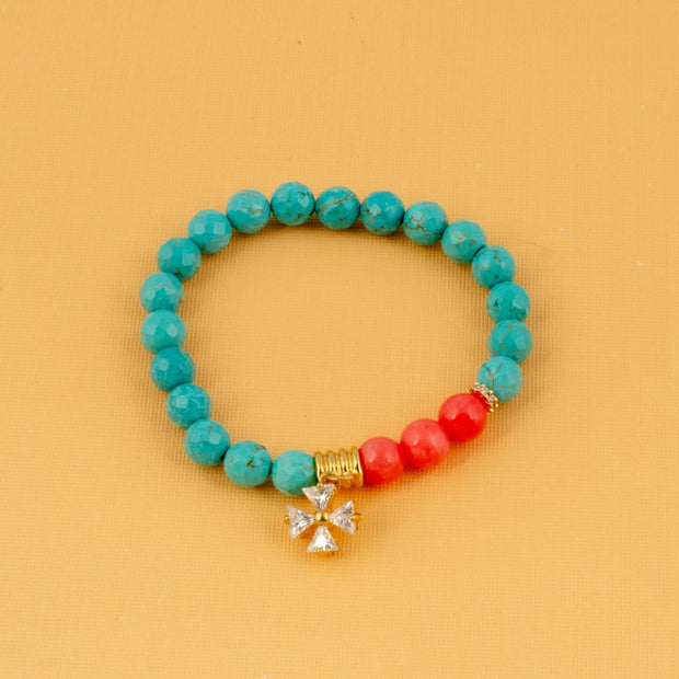 Turquoise, Coral, Crystal Beads with Maltese Cross Bracelet