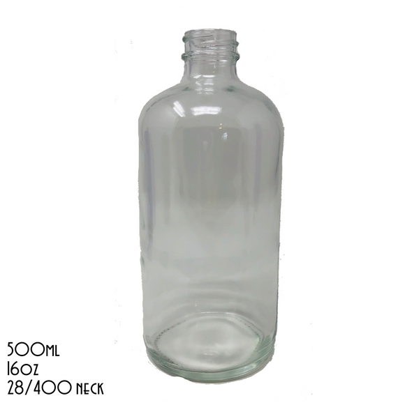 UNLABELLED Clear Boston Round Bottle