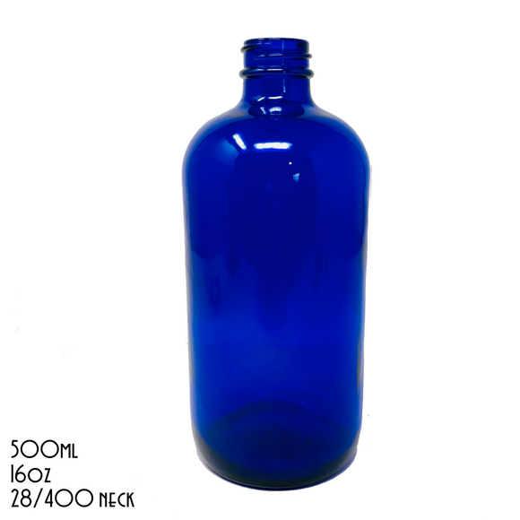 UNLABELLED Blue Boston Round Bottle