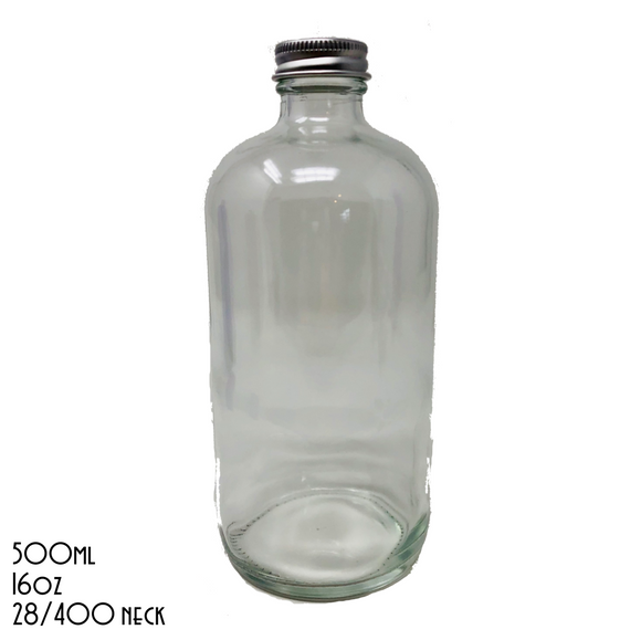 UNLABELLED Clear Boston Bottle With Silver Cap