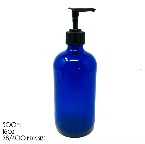 UNLABELLED Blue Boston Bottle With Black Pump