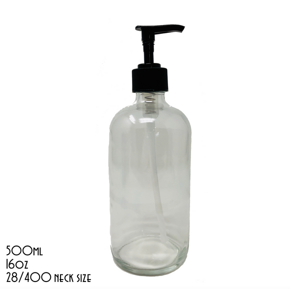 UNLABELLED Clear Boston Bottle With Black Pump