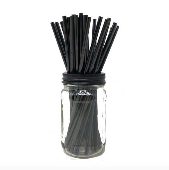 Thin BLACK Stainless Steel Straws Refill