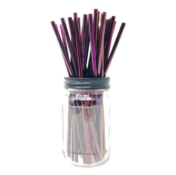 Thin PURPLE Stainless Steel Straws Refill