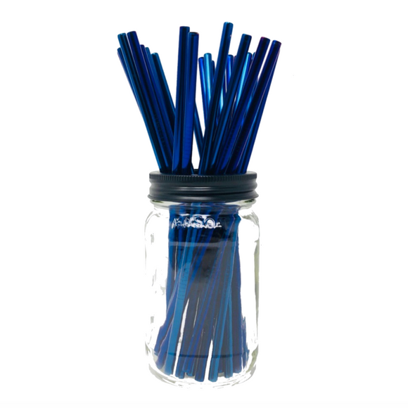 Thin BLUE Stainless Steel Straws Refill