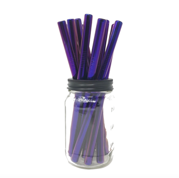 Thick Smoothie PURPLE Stainless Steel Straws