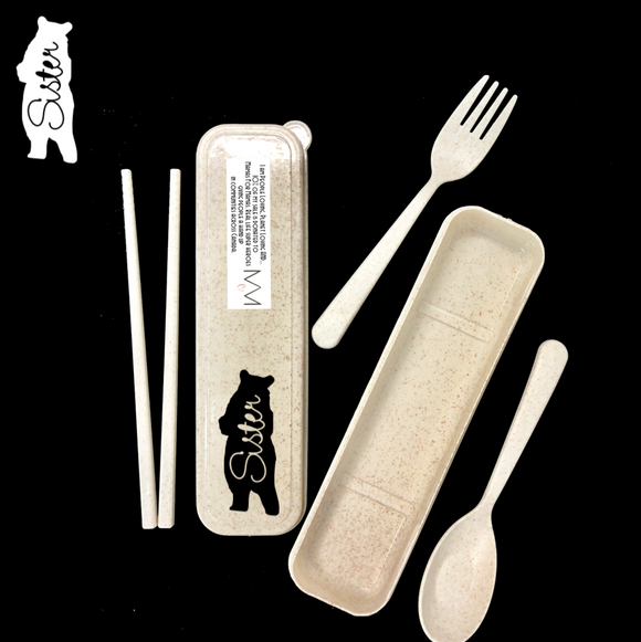 Wheat Straw Cutlery - BEAR FAMILY VERSION - 12 Designs