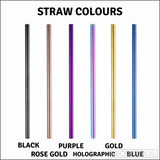 Two Smoothie Straws - Holographic Stainless Steel Straws