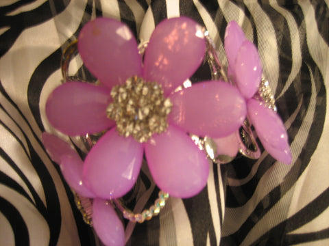 Glass, purple flower bracelet with Swarovski crystals