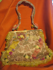Yellow flower vantage purse with 1 cloth handle