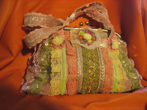 Green/orange/yellow vantage purse with 2 cloth handles