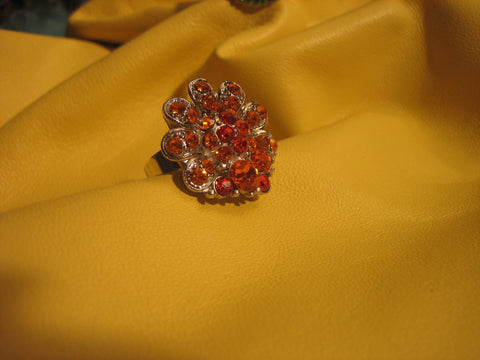 Orange ring with Swarovski crystals- adjustable
