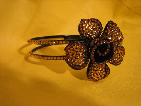 Headband brown flowers  with rhinestones