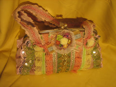 Yellow/green ruffle vantage purse