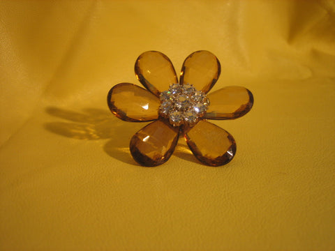 Glass stretchable brown flower  ring