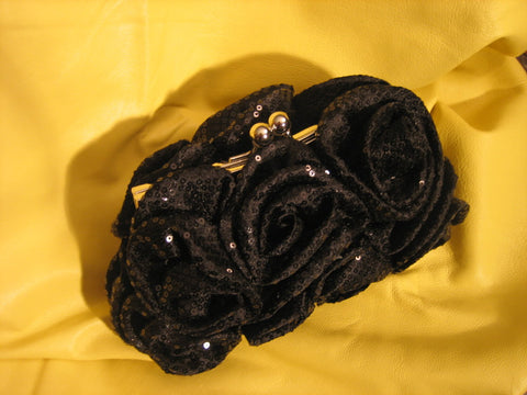 Black rose, sequence evening purse