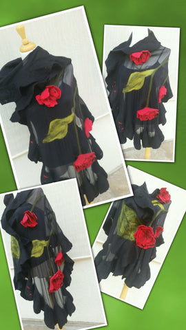 Classic Couture -  Black with Red Roses.